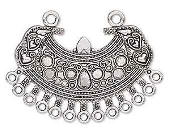 Silver Chandelier, 13 loops, Antiqued, Crescent Shaped Link, Connector, 51x37mm, 1 each, D985