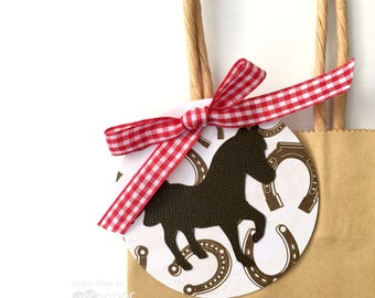 Horse Gift Tags. Dark brown pony shape, horse-shoe pattern. Party favor tags. Swing Tags. Cowboy or cowgirl. Birthday party, baby shower.