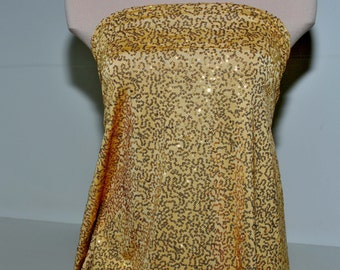 """Sewn on Sequin fabric 58"""" Gold . stretch all 4 ways..great for costumes, dance, theater, formal wear, pageant"""