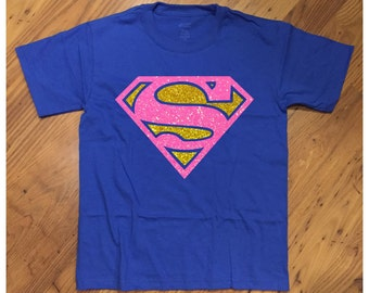Super Girl Glittery Super Hero Royal Blue T-Shirt Super Kid Tee Hero SuperHero SuperGirl Girly Great for Birthday or Just for Fun