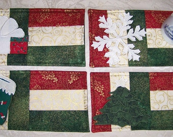CHRISTMAS - Quilted Mug Rugs - 4 Designs in 1 PDF E-Pattern