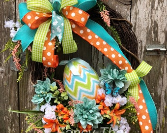 XL Chevron Easter Egg wreath,teal orange chevron egg,easter grapevine wreath,spring grapevine wreath,easter egg wreath,easter floral