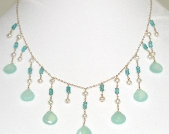 Aqua Chalcedony Briolette Necklace - item #1310