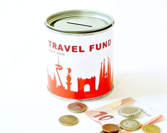 Travel Bank BARCELONA TRAVEL FUND Trip Fund Cash Box - money box - globe bank - vacation savings bank -made by 44spaces