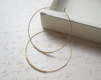 Gold Seed Bead Hoop Earrings, Large Gold Plated Earrings, Hoop Earrings, Gold Hoops, Also Available in Silver