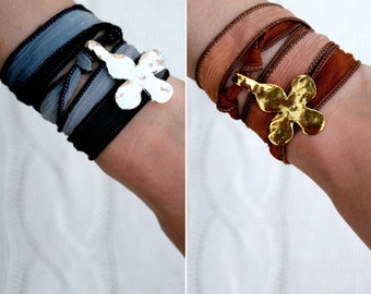 Silk Ribbon Wrap Charm Bracelet with Hammered Cross