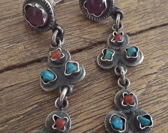 Vintage 1980s Sterling Matl Style Mexican Earrings // Taxco // TP-102 // Clicero Pena Valladeras // Amethyst, Turquoise and Coral // Bold!