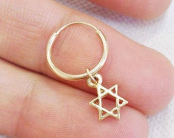 Carry Your Star of David. 14K Gold Star of David Earring. Recycled Gold. Cartilage . Gold Jewish Symbol Hoop Earring. Unisex Man or Woman.