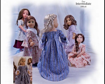 Pixie Faire Thimbles and Acorns 1770 Sacque Back Gown and Caraco Jacket Doll Clothes Pattern for 18 inch American Girl Dolls - PDF