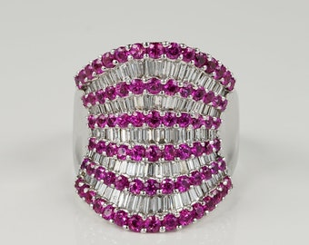 Spectacular 6.00 Ct diamond 5.20 Ct pink sapphire designer ring
