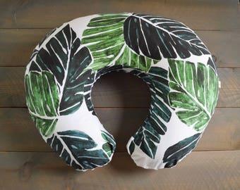 boppy cover replica monstera leaf palm , jungle nursing pillow cover, breastfeeding pillow, nursing pillow slipcover leaves, green pillow