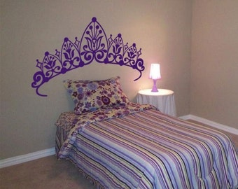 Princess Headboard - Girls Room - Wall Decals - Your Choice of Color