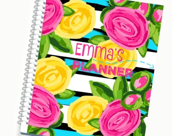 2017 Planner, Personalized Planner, Daily Planner, Weekly Planner, Planner Accessories, Cute Planners, Lily Pulitzer Inspired, 2016 Agenda