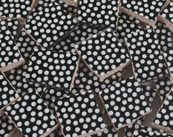Ceramic Mosaic Tiles - Black And White Polka Dots Mosaic Tile Pieces -  40 Pieces Black And White Tile Mosaic Art / Mixed Media Art/Jewelry