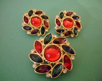 Vintage  Pendant/Brooch and Pierced Earrings Set Flowering Swirl of Red Green Purple and Blue