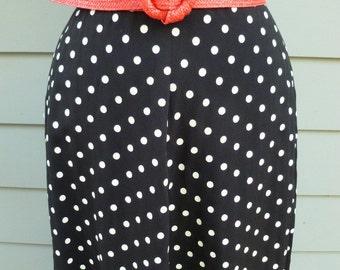 Vintage black and white polka dot high waist midi skirt