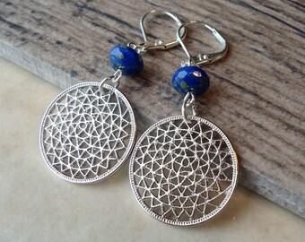 Blue Dangle Earrings.Navy Blue.Metal Earrings.Silver.Glass.Bridal.Long Earrings.Holiday.Formal.Bridesmaid.Statement.Gift.Handmade.