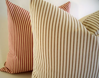 Brown Ticking Pillow Farmhouse Pillow Cover Brown Cream Ticking Stripe Farmhouse Cottage Pillow 0