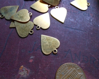 6 pc heart charms mid century rockabilly - vintage old new stock charms - solid brass charms
