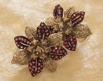 18 K white gold diamond and pink sapphire flower earring