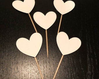 White Hearts Cupcake Toppers