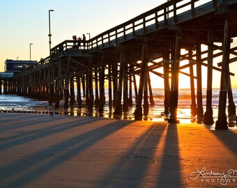 "Newport Beach Print | ""Newport Beach Pier Sunbeams"" | Newport Beach Wall Art - Newport Beach Pier Photo - Southern California Beach Wall Art"