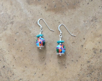 Multi Inlay Ball Earrings and Necklace (Zuni Fetish style)
