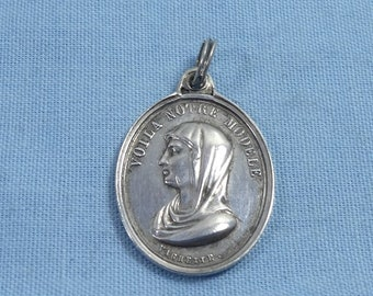 Antique Sterling Silver Virgin Mary Religious Pendant By Vachette Charm For Necklace Chain Medallion Medal