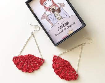 Red Fan in Chains - Crocheted Earrings, 2nd anniversary gift, Cotton Anniversary gift for her, Hand Crochet Jewelry