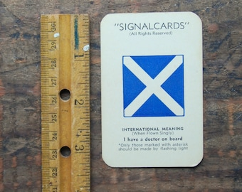 "Vintage Signal Card, WWII Era, Navy International Code Flag "" Mike M "" ""I Have a Doctor On Board"""