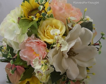 Peony Bouquet with Magnolia, Sunflowers, and Roses, Romantic Elegant Wedding Flowers