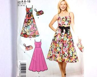 It's So Easy, Simplicity 4265, Women's Dress and Bag Pattern, Spaghetti Strap Dress, Plus Size Pattern, Size 8, 10, 12, 14, 16, 18, Uncut