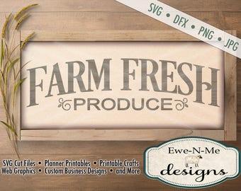 Farm Fresh Produce SVG - farmhouse style svg - produce cut file - kitchen svg - produce svg - Commercial Use svg -  svg, dxf, png, jpg