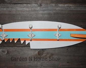 Surf Board  Coat Rack / Beach House Coat Rack Hooks / Hat Rack
