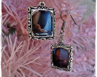 Maleficent Once Upon A Dream Aurora Rose Sleeping Beauty Inspired Dangle Picture Charm Earrings.
