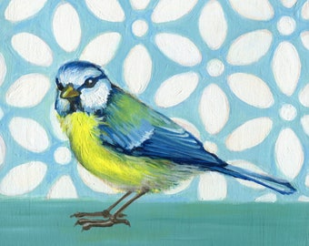 Bird Wall Art, Blue Tit and White Daisies, Small Bird Painting, Bird Art Print, Bird Painting, Blue Kitchen, Blue and Yellow Decor