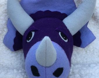 Purple Felt Plush Dinosaur Head Wall Hanging Decoration Faux Taxidermy Stuffed Animal Head Nursery Decor Home Decor