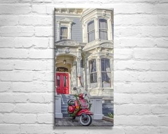 San Francisco Art, Victorian House Picture, Vespa Scooter Photo, Victorian Architecture Art, San Francisco Photo, San Francisco Gift
