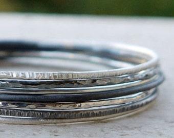 Hammered silver bangles set of 5. Skinny stacking bangle set, Sterling silver bangles, Silver bracelet, handmade bracelet. Pick any 5