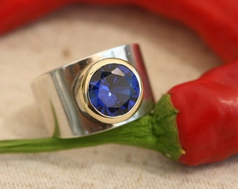 Sterling silver ring with stone, Cz Ring,bBlue Cz Silver Ring, Silver and Gold Ring, Blue Stone Ring, Sterling Silver Rings,Womens Rings,