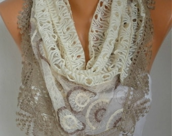 Valentine's Gift,Light Yellow Filet & Lace Scarf,Wedding Shawl Bridesmaid Gift Gift Ideas For Her Women's Fashion Accessories