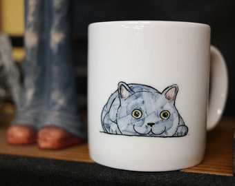 Hand painted animal mug cup - Cute  mug cup -Cat  mug cup 5