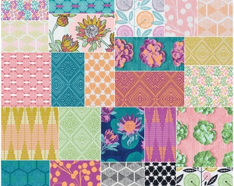 "SALE Fabric Joel Dewberry Cali Mod Precut 5"" Charm Pack Fabric Quilting Cotton Squares Free Spirit SQ47"