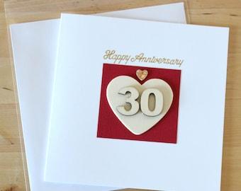 Pearl Anniversary Card, gift, 30th Anniversary Card, gift, 30th Anniversary card parents, Handmade anniversary card, Greeting card handmade