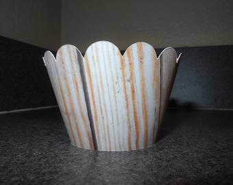 Wood Cupcake Wrappers  Set of 12 Wood Grain