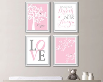Baby Girl Nursery Art. Girl Nursery Decor.  Tree Nursery Art. Bird Nursery Art. Bird Nursery Decor. Monogram Nursery Art. Bird Bedroom N-727