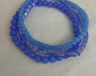 Blue glass beaded stack bracelet!
