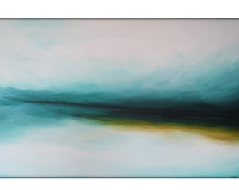 Large Abstract Landscape Painting on Canvas Modern Acrylic Skyline- 30x48- White, Greens, Blue, Golden Yellow