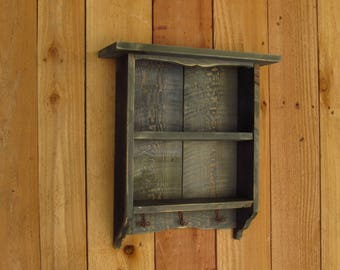 Reclaimed wood Shelf, Rustic Display case with wire  hooks, Farmhouse style, reclaimed red cedar, famrohusefurnituretx