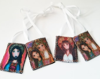 Saint Anne with Mary - Jesus  - Set of 2 Scapulars -   Handmade - Original Art by FLOR LARIOS
